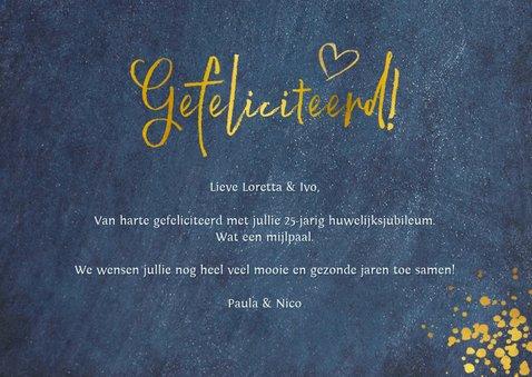 Felicitatiekaart huwelijksjubileum - stijlvol blauw met goud 3