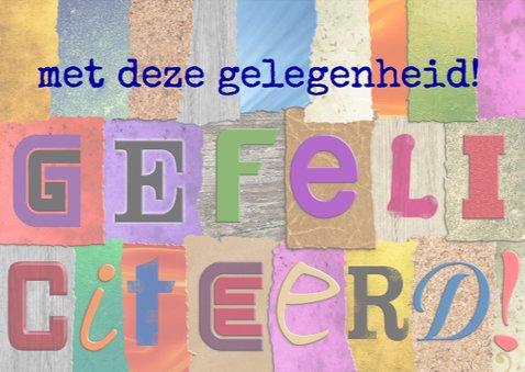 Felicitatiekaart met losse letters HARTELIJK GEFELICITEERD! 3