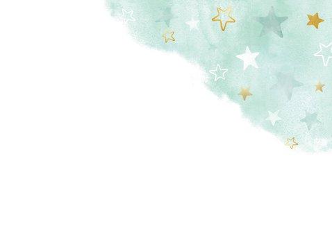 Felicitatiekaart nieuwe woning waterverf groen met sterren 2