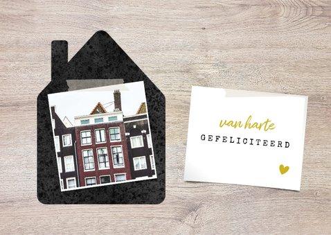 Felicitatiekaart 'samenwonen' met huisjes, foto's & hout 2