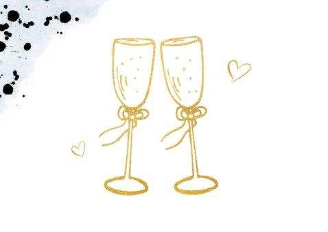 Felicitatiekaart trouwen met gouden champagneglazen toast 2