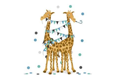Felicitatiekaart tweeling jongens giraf geboorte zwanger 2