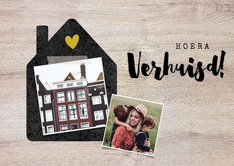 Felicitatiekaart verhuisd met huisje, foto's en hout 2