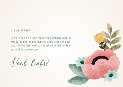 Fleurige moederdag kaart met bloemen, plantjes 'Mama' 3