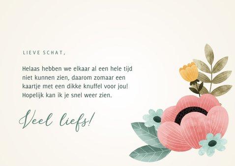 Fleurige zomaar kaart 'Knuffel' bloemen, bladeren en takjes 3