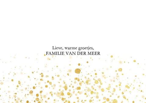 Foto kerstkaart met gouden spetters en typografie 3