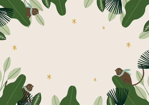 Foto Kerstkaart met jungle en dieren Achterkant