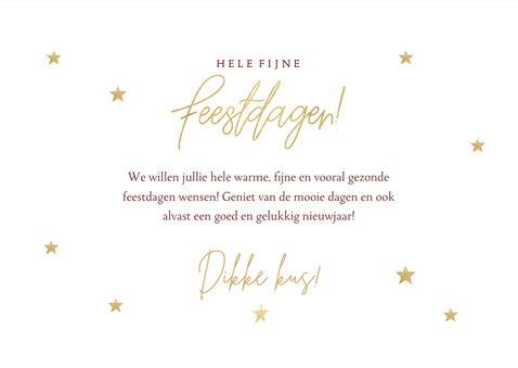 Fotocollage kerstkaart met gouden sterren Fijne Feestdagen 3