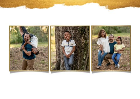 Fotokaart collage van 5 foto's met gouden verf stijlvol 2