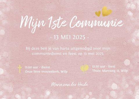 Fotokaart communie - uitnodiging communiefeest meisje 3