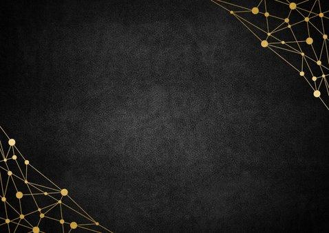 Fotokaart gouden typografie en netwerk Achterkant