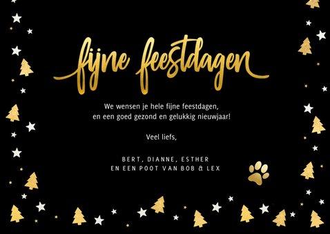 Fotokaart kerstmis - met foto van hond en gouden pootafdruk 3