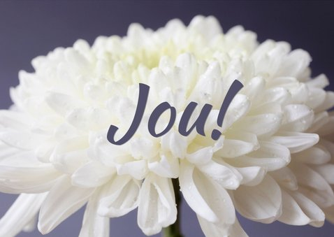 Fotokaart met een witte bloem en de tekst 'We houden van ... 3