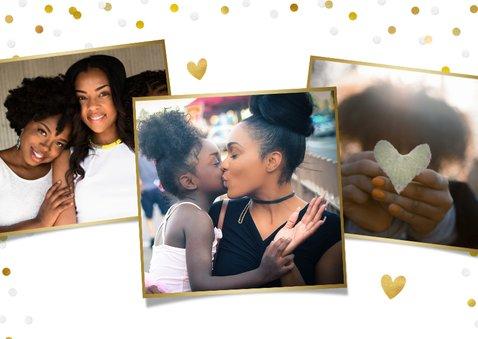 Fotokaart moederdag met 1 grote foto, goud en confetti 2