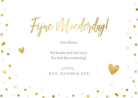 Fotokaart moederdag met 1 grote foto, goud en confetti 3
