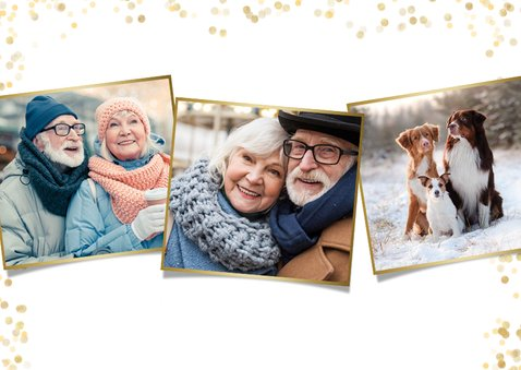 Fotokaart nieuwjaar met grote foto en goud 2