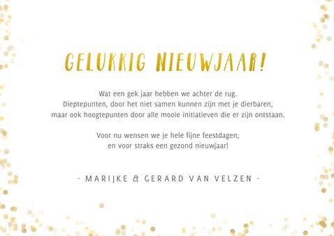 Fotokaart nieuwjaar met grote foto en goud 3