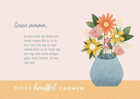 Fotokaart voor moederdag met bosje bloemen in vaas 3