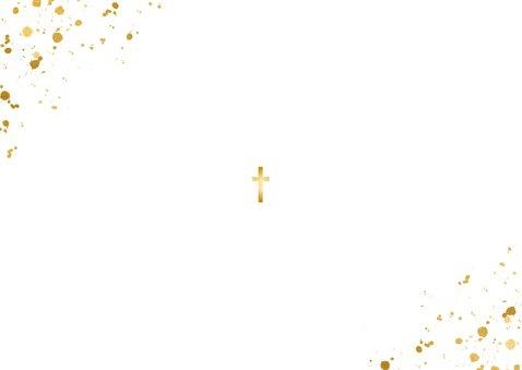 Fotokaartje doopsel fotocollage goudspetters Achterkant