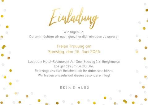 Fotokarte Einladung Freie Trauung Goldtext 3