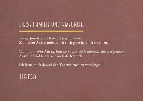 Fotokarte Einladung Jugendweihe schlicht terra 3