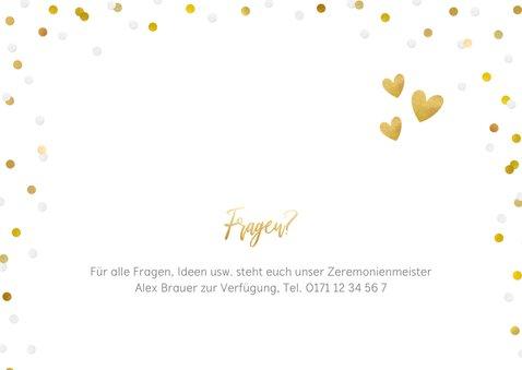 Fotokarte Einladung Wir heiraten Goldtext 2