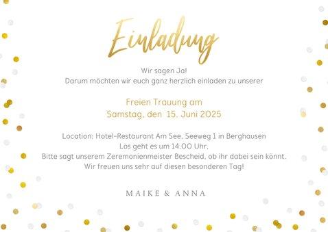 Fotokarte Einladung Wir heiraten Goldtext 3