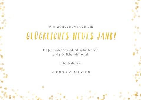 Fotokarte Neujahr Text in Goldoptik 3