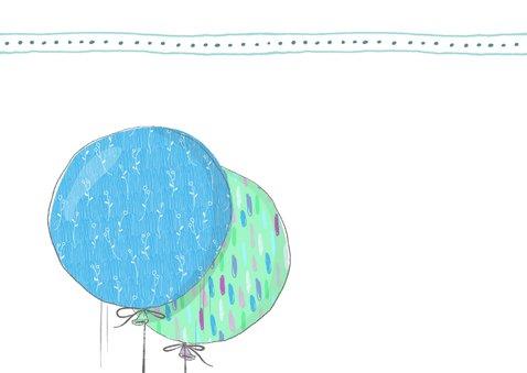 Geboortekaart jongen, ballonnen met konijn 2