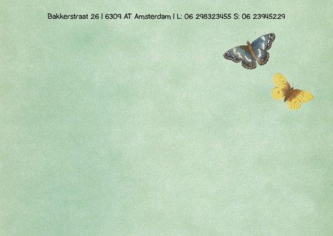 Geboortekaart met bloemen en beestjes 2