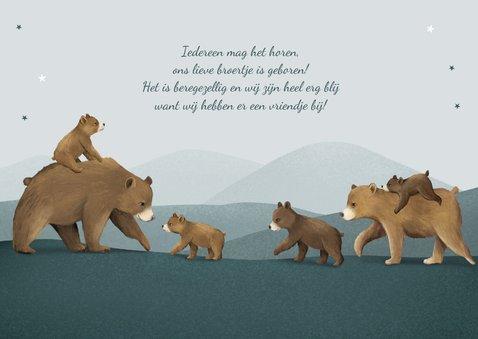 Geboortekaartje broertje dieren beren familie sterren maan 3