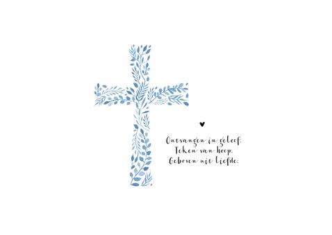 Geboortekaartje christelijk jongen kruis stijlvol foto 2
