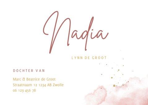 Geboortekaartje foto in hartjesvorm roze aquarel grote naam 3