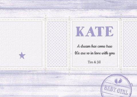 Geboortekaartje Girl lavendel 3