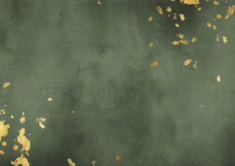 Geboortekaartje groene waterverf liggend gouden spetters Achterkant