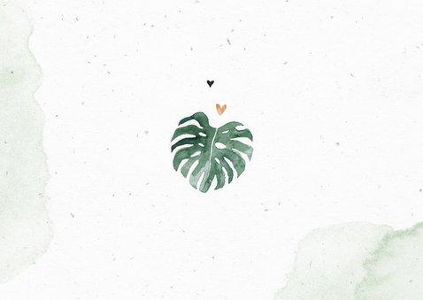 Geboortekaartje jongen tijgertje botanisch groen waterverf Achterkant