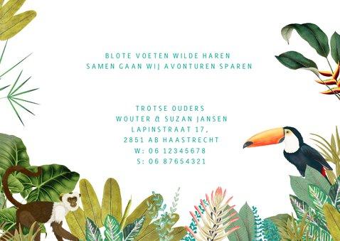Geboortekaartje jungle met toucan en aapje  3