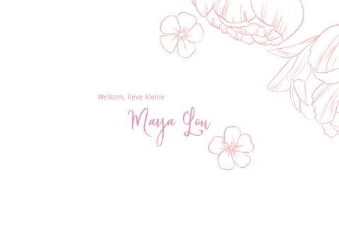 Geboortekaartje lief meisje foto & bloemen 2