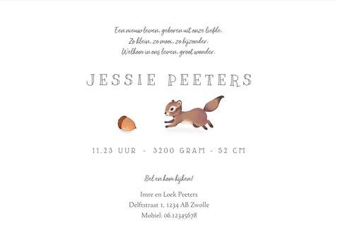 Geboortekaartje lief met eekhoorn voor jongen/meisje 3