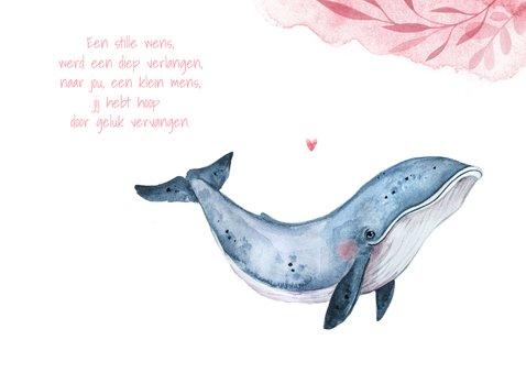 Geboortekaartje meisje hip walvis waterverf hartjes lief 2