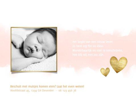 Geboortekaartje meisje met waterverf, hartjes en spetters 3