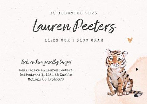 Geboortekaartje meisje tijger jungle waterverf 3