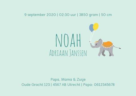 Geboortekaartje met vrolijke circustrein in blauw 3