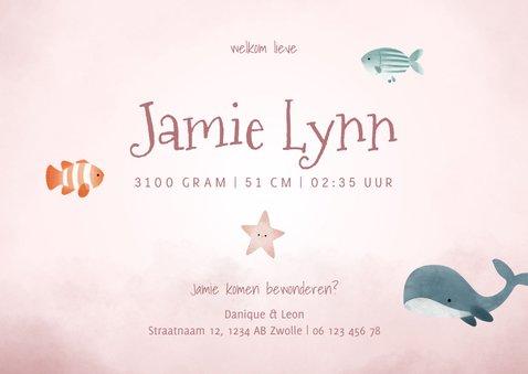 Geboortekaartje oceaan fotocollage meisje, vissen en walvis 3