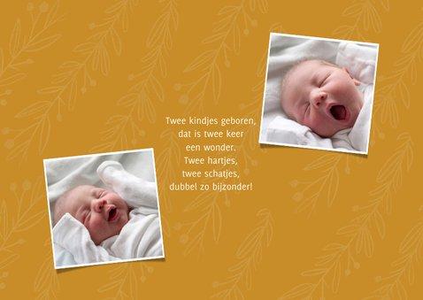 Geboortekaartje trendy oker tweeling met foto's en takjes 2