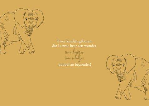 Geboortekaartje tweeling olifantjes lijntekening  2