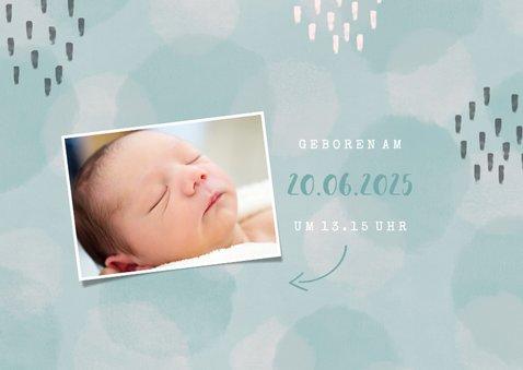 Geburtskarte blau Fotocollage mit Ultraschallfoto 2