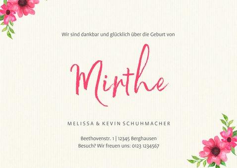 Geburtskarte Foto, Blumen & Symbole 3