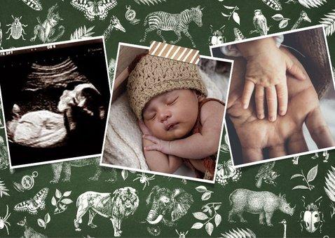 Geburtskarte Foto und Tierprint 2