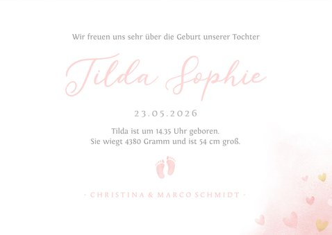 Geburtskarte Fotos & rosa Fußspuren 3